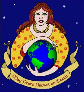 Goddess holding World in her Hands - May Peace Prevail on Earth